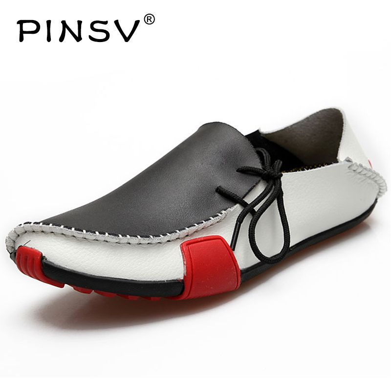 PINSV Walking Shoes Men Sapatilhas Chaussure Slip-On Message Walking Zapatillas Leather Band Sapatos Masculino Walking Shoes