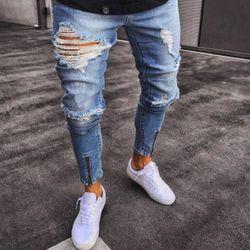 BORRUICE 2018 hombres Hip Hop Jeans Gloria agujero vaquero No elástico cremallera pie moda Denim Joggers mens jeans