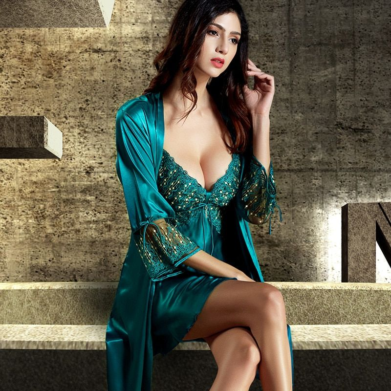 Xifenni Robe Sets Female Softness Satin Silk Sleepwear Women Lace Embroidery Two-Piece Sexy V-Neck Bathrobes Set  2018 NEW 8205