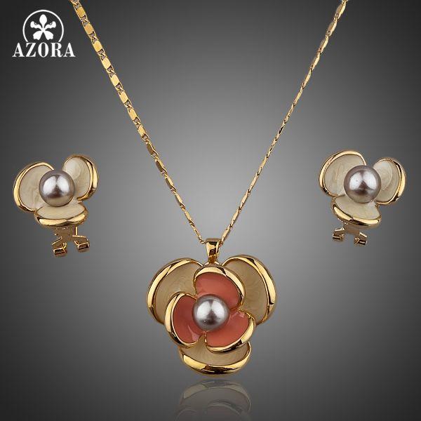 AZORA Clásico Flor de Color Oro Diseño de Clip de Pendiente y Colgante de Collar de Juego TG0023