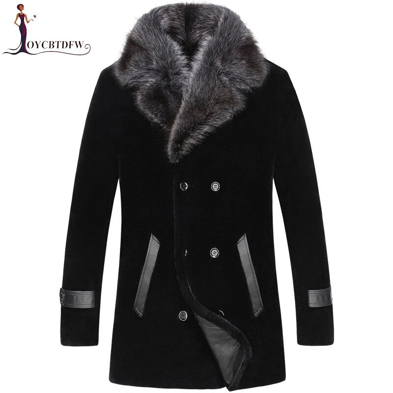 2018 Direct Selling Sale Palto Large Size Winter Sheep Shearing Outerwear Men One-piece Coat Long Mink Collar Wool Jacket No454