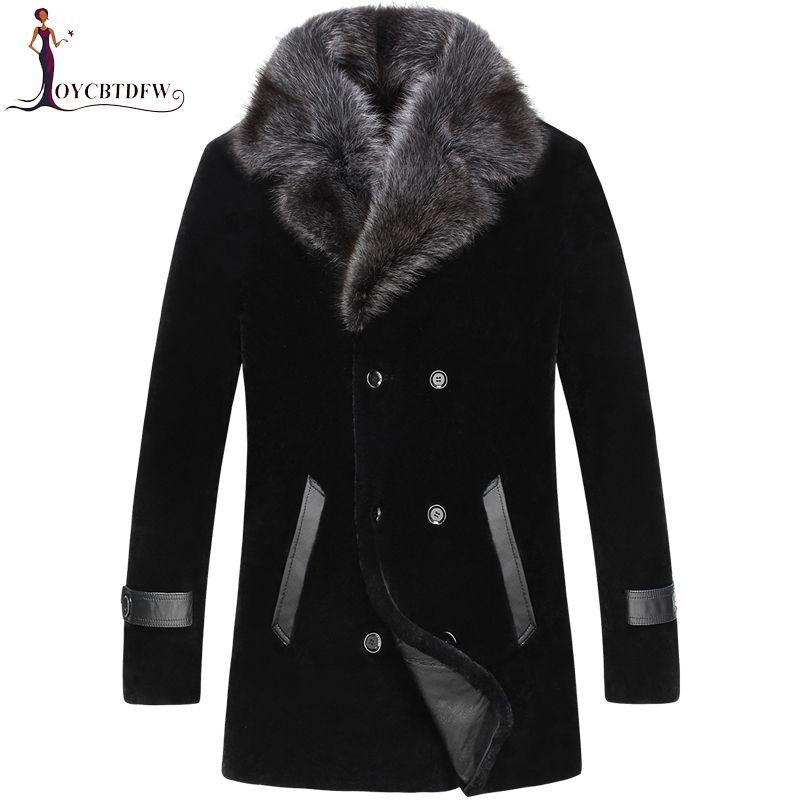 2018 Direct Selling Verkauf Palto Große Größe Winter Schafschur Oberbekleidung Männer einteiliges Mantel Lange Nerz Kragen Wolle jacke No454
