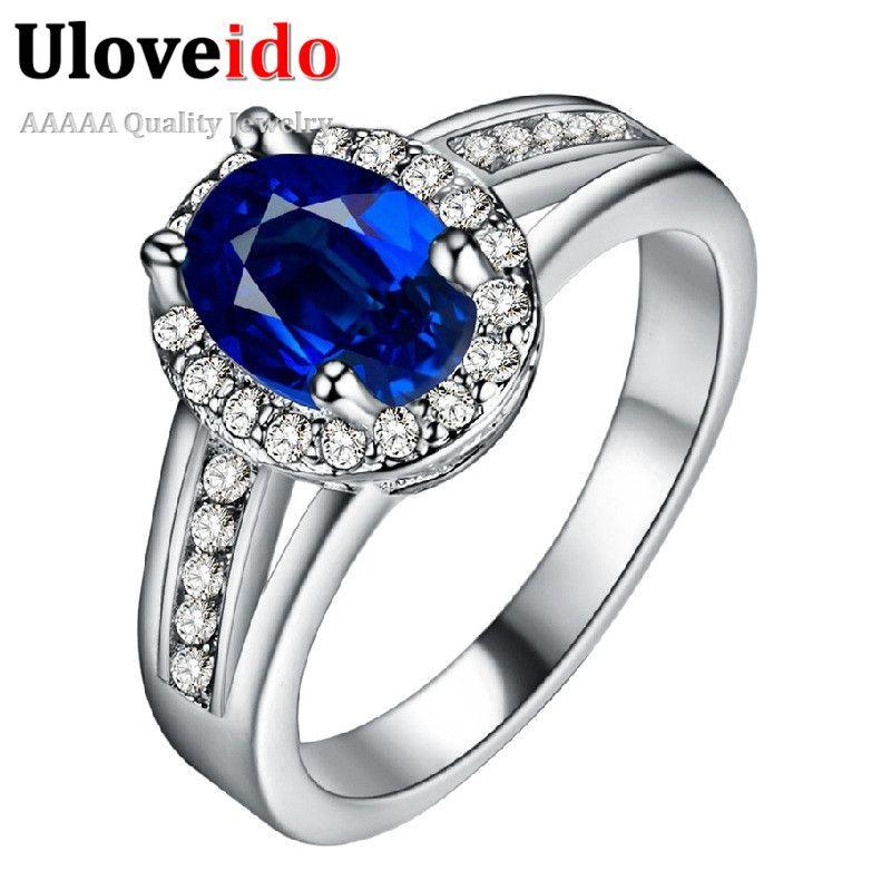 2016 Trendy Silber Luxus Blau Stein Zirkon Liebe Dame Ring Multicolor Frauen valentinstag Geschenke für Weibliche Bague Femme PJ138