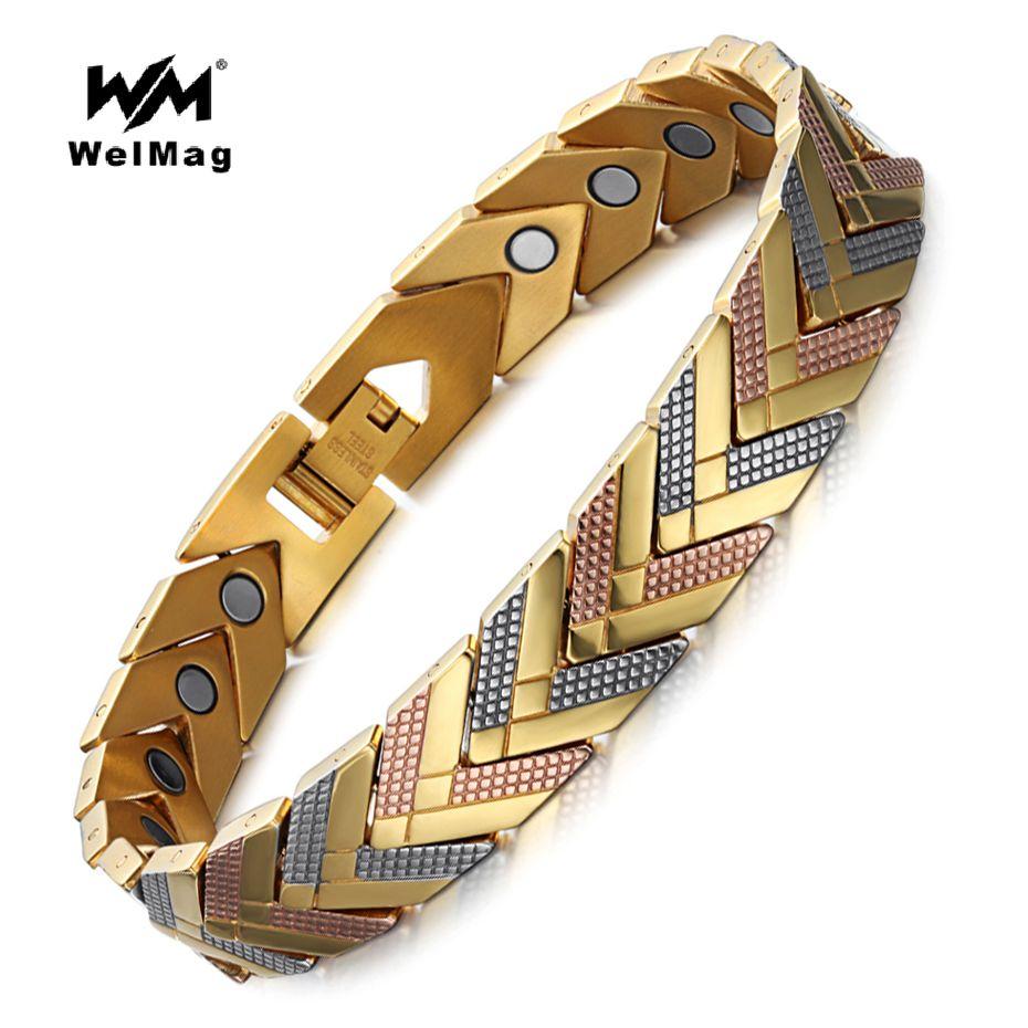 WelMag Stainless Steel <font><b>Health</b></font> Magnetic Bracelet Bangle For Women Bio Energy Bracelet 2018 Hot Sale Fashion Jewelry Wristband