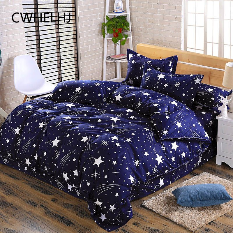 3-4pcs Bedding Sets Soft Polyester Stars Home Textile Cartoon Beddingset Bed Starry Sky Quilt Cover Bed Sheet Pillowcase Set
