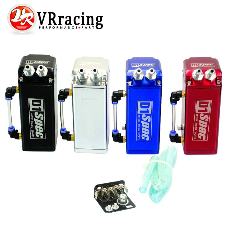 VR RACING - Universal RACING 10mm D1 Engine Oil Catch Tank Can Reservoir 7x3x2.5 Square JDM NEW BLACK,SILVER,RED,BLUE VR-TK80
