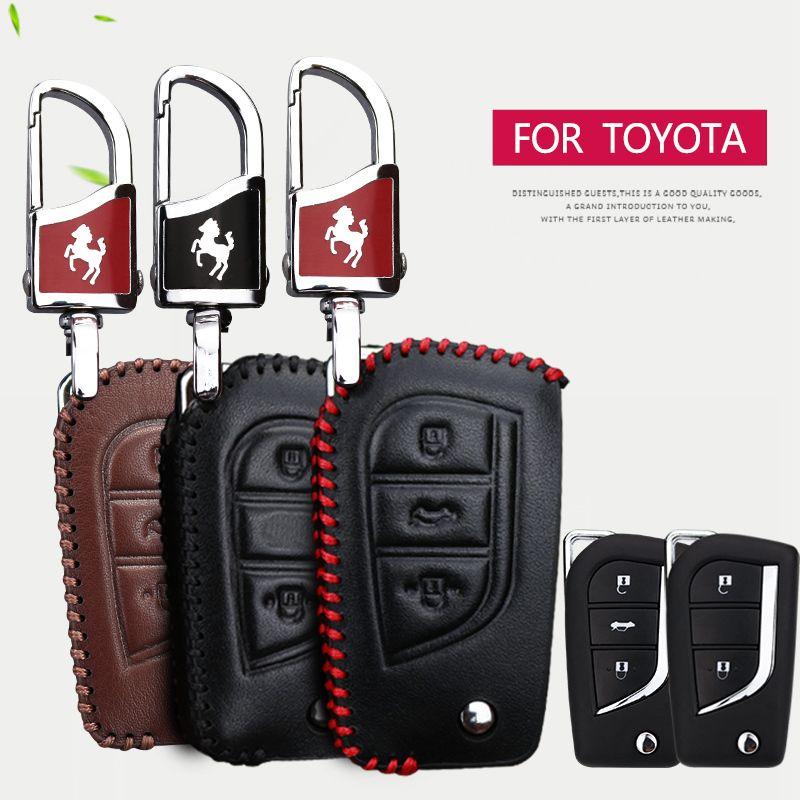Housse pour clé de voiture en cuir véritable pour Toyota CHR RAV4 Aygo Camry Avensis Yaris Corolla Prius Crown c-hr 2018 accessoires clés