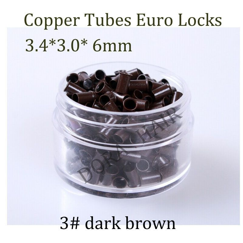 1000pcs 3.4*3.0* 6mm 3.5mm flare Euro Lock copper tubes Micro Rings links beads for stick I tip hair extensions 3# dark brown