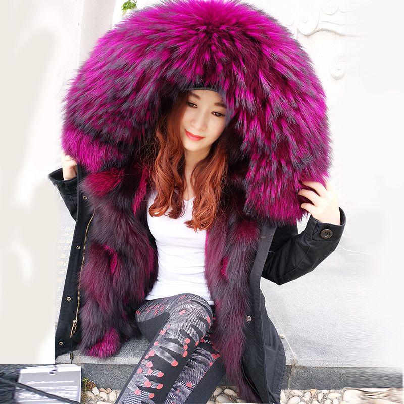 2017 mode winter jacke frauen outwear dicke parkas waschbär natürliche kragen echt fox pelz liner mantel mit kapuze Top marke mr heißer verkauf