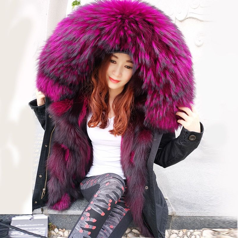 2017Fashion winter jacket women outwear thick parkas raccoon natural collar real fox fur liner coat hooded Top brand mr Hot sale