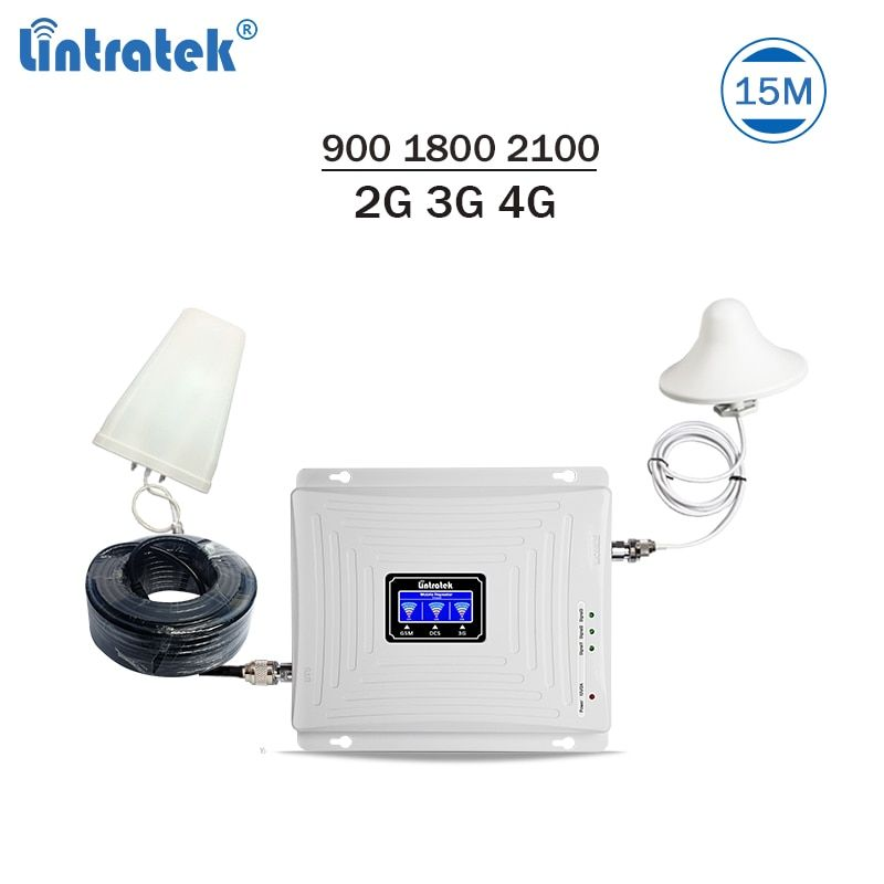 Lintratek Triband Signal Booster 900 1800 2100Mhz GSM Repeater 3G 4G LTE Amplifier Mobiel Phone Repeater 2G 3G 4G 65dB GDW #4.6