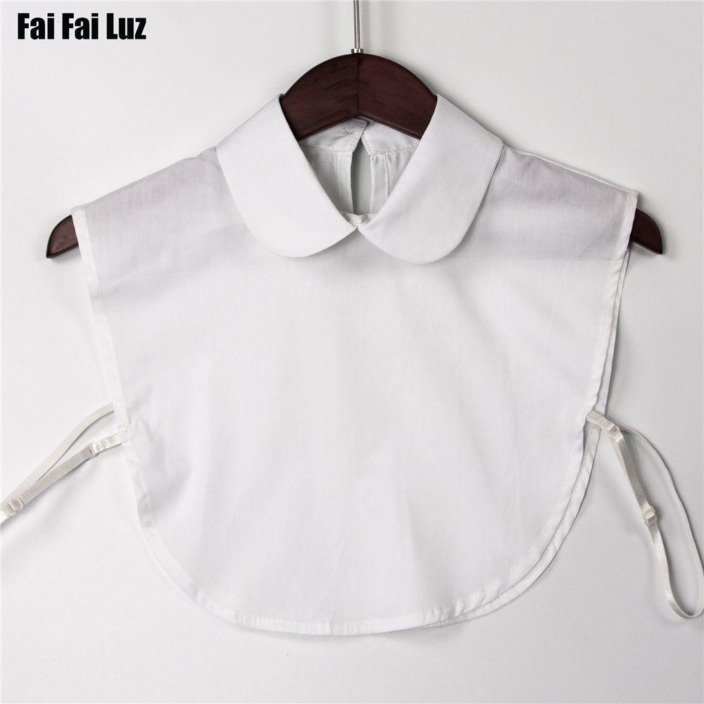 Nouveau automne blanc bib détachable colliers femmes blouse faux col vêtements accessoires peter pan femmes pointu col