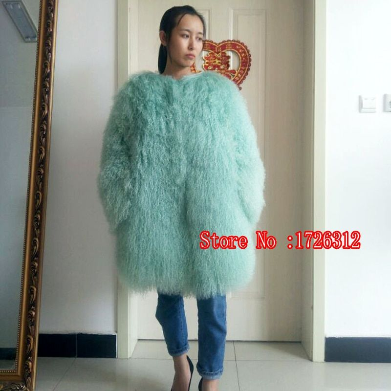 2018 Natural Long section real fur coat beach wool winter warm outwear lady fur Mongolia Sheep Fur cardigan overcoat