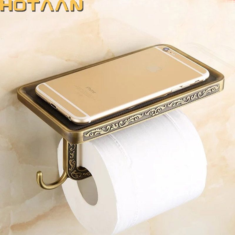 <font><b>Antique</b></font> Brass Toilet Paper Holder Bathroom Mobile Holder Toilet Tssue Paper Roll Holder Bathroom Storage Rrack Accessory YT-1492