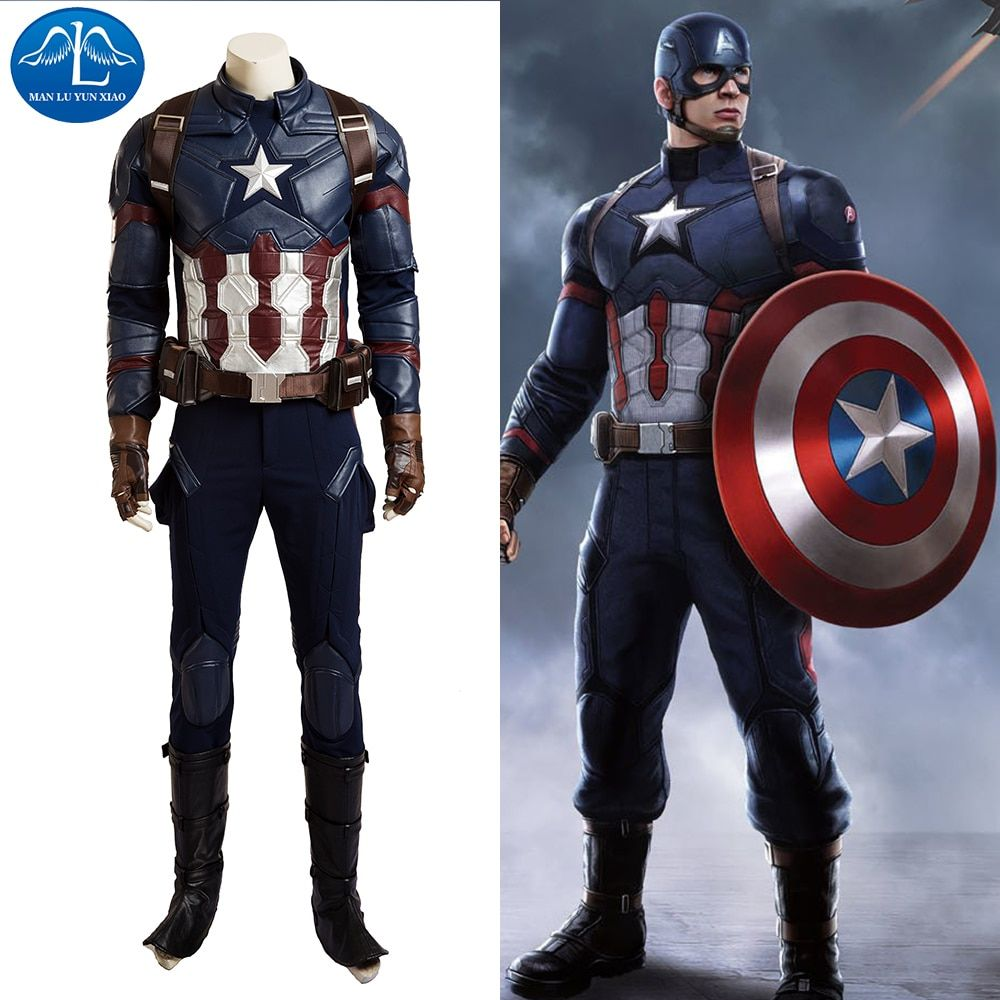 MANLUYUNXIAO High Quality Captain America Civil War Cosplay Costume Captain America Costume Halloween Costumes For Men Customize