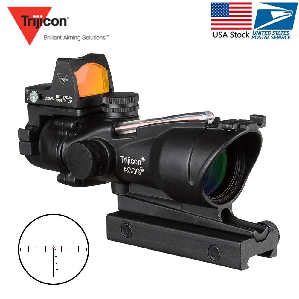 Acog 4x32 Optic Scope Zielfernrohr Cahevron Absehen Faser Grün Rot Beleuchtet Optic Anblick Mit Rmr Mini Red Dot anblick