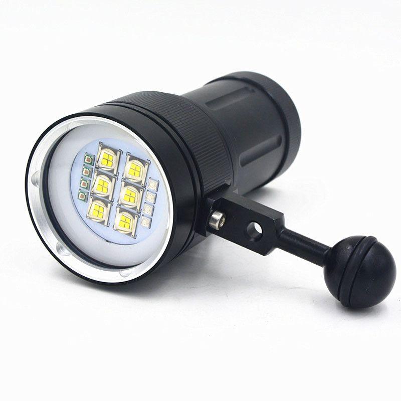 Новые 20000 люмен 6x9090 белый свет + 4x красный свет + 4x УФ светодиодный фонарик под водой видео Дайвинг фонарик лампы