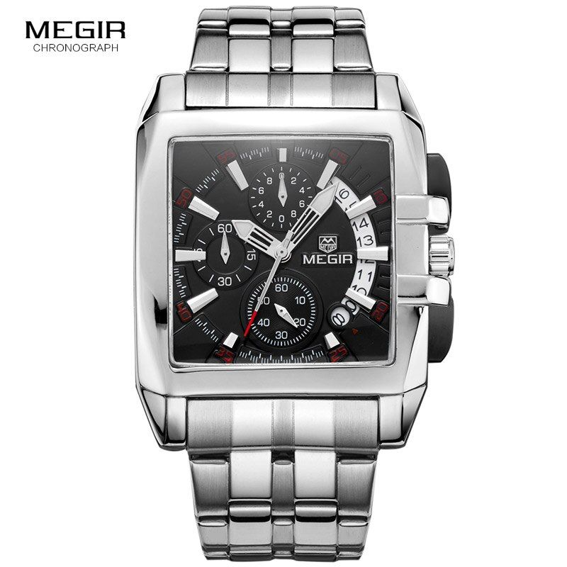 Megir new business men's quartz watches fashion brand chronograph wristwatch for man hot hour for male with calendar 2018