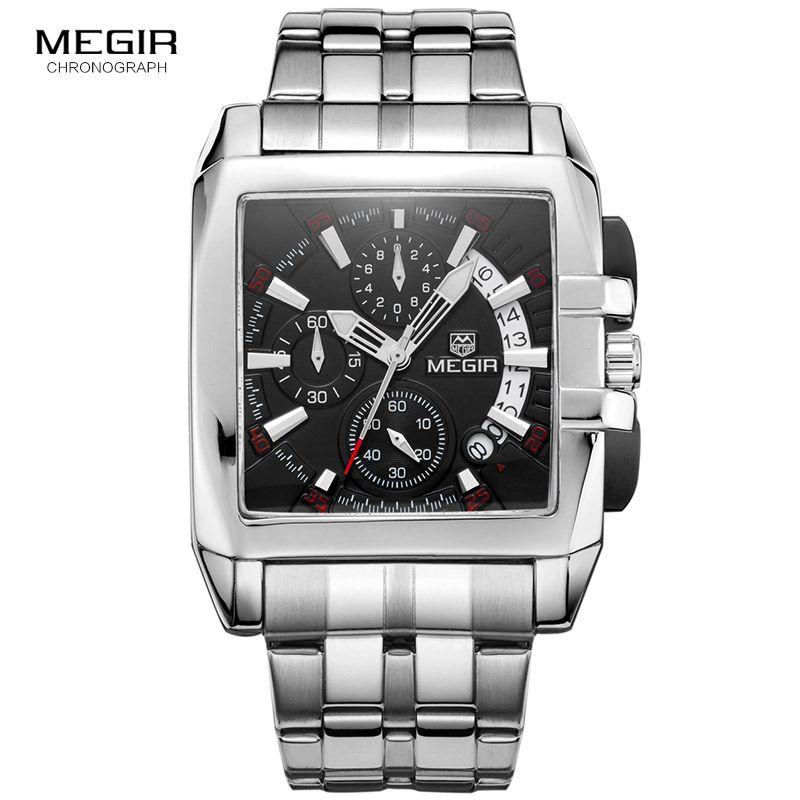 Megir new business men's quartz watches fashion brand chronograph wristwatch for man hot <font><b>hour</b></font> for male with calendar 2018