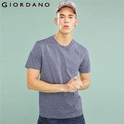 Giordano Pria Tee Ribbed Crewncek Lengan Pendek T-shirt 2018 Pria Fashion Pakaian Warna Solid Slim Cutting Pria Kasual TEE