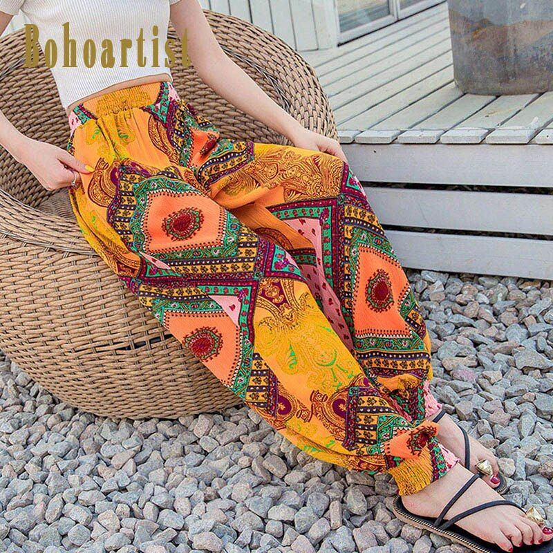 Bohoartist Women Boho Print Beach Pants Elastic Waist Harem Pant Ethnic Style Fashion Ladies Loose Casual Yellow Full Pants