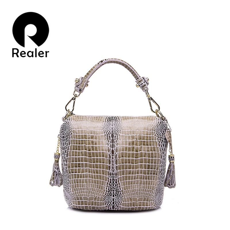 REALER genuine leather handbags women small totes <font><b>shoulder</b></font> crossbody bags ladies classic serpentine pattern leather bucket bag