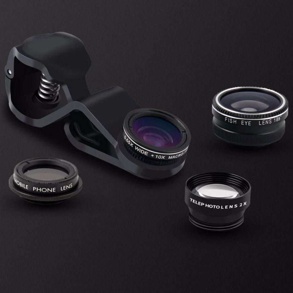 Mini 5 In 1 Clip Auf Optische Handy-kamera-objektiv Fisch objektiv 0.65X Weitwinkel 10X Makro-objektiv Für Handy HD Objektiv Kit