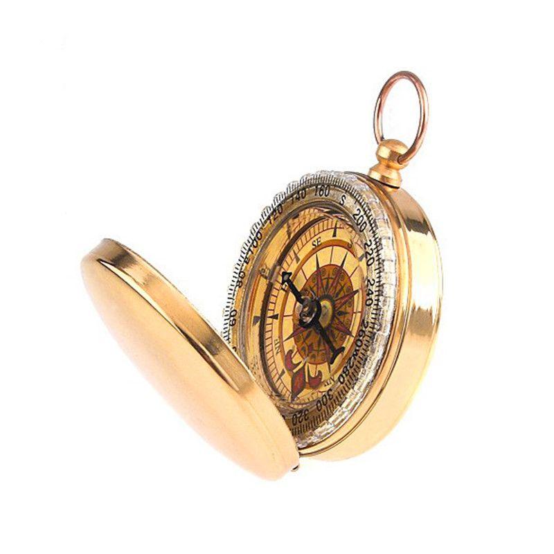 Camping Wandern Tragbare Messingtaschen Goldene Kompass Navigation Verkauf B2c-shop