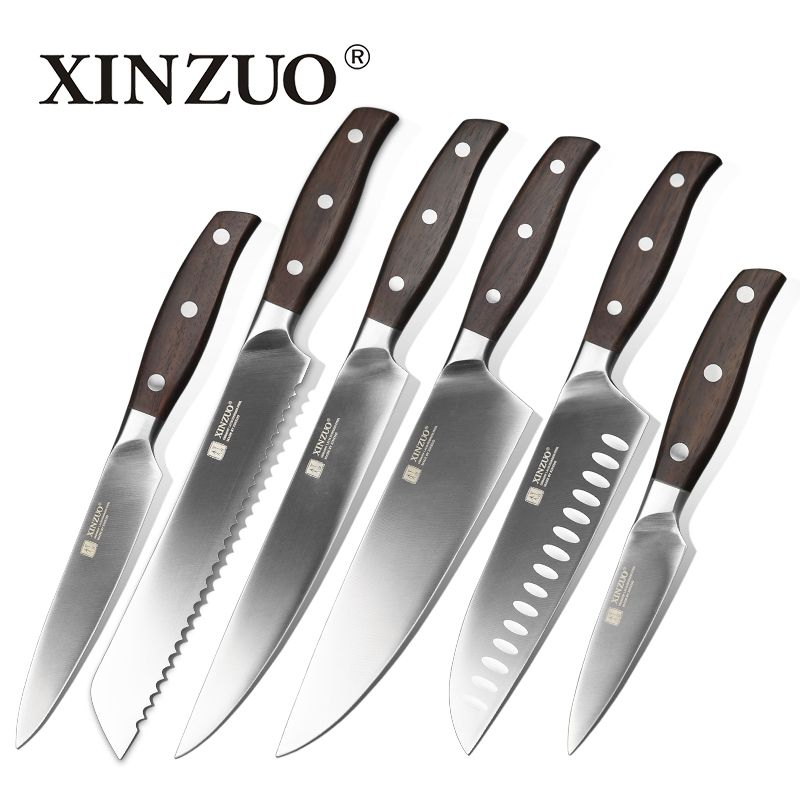 XINZUO kitchen tools 6 PCs kitchen knife set utility cleaver Chef bread knife stainless steel Kitchen Knife sets cooking tool