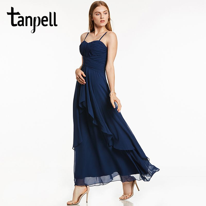 Tanpell long evening dress dark navy sleeveless spaghetti straps a line ankle length gown women prom party formal evening dress