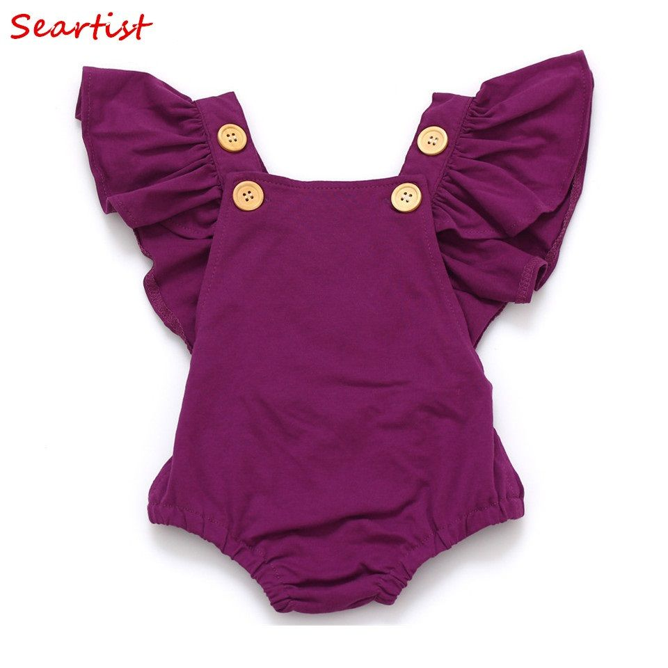 Seartist bébé filles barboteuse nouveau-né infantile vêtements filles été printemps coton à volants manches barboteuse enfant en bas âge combinaison 0-2Yrs C32