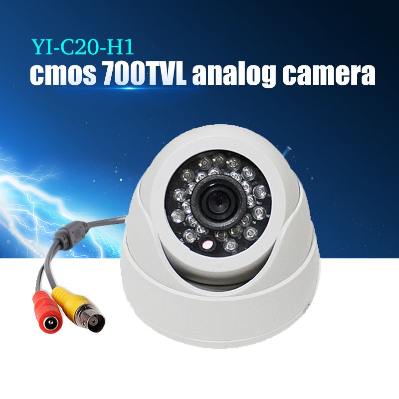 YiiSPO Plastic Mini IR Dome Camera 24pcs LED Video Security Camera Indoor CCTV 700TVL CMOS for Fixed Lens IR CUT night vision