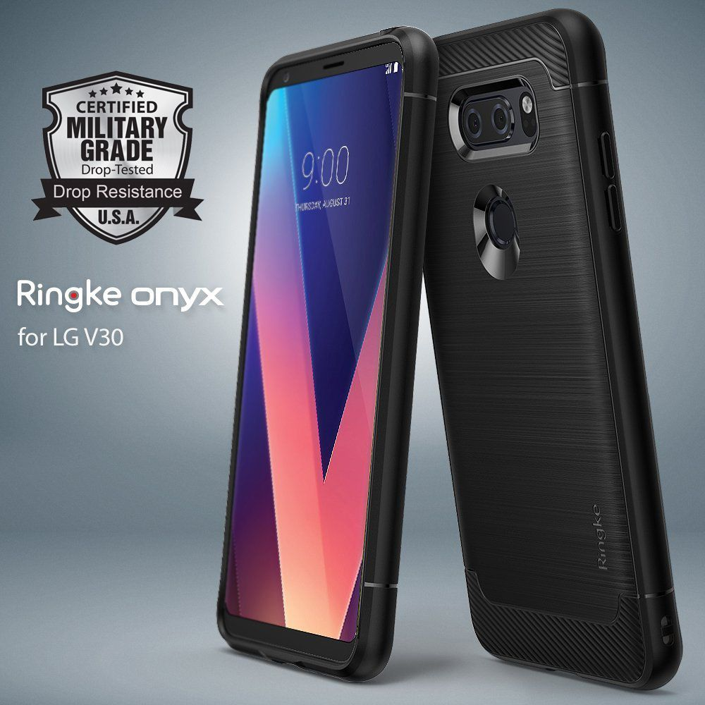 Ringke Onyx LG V30 Case Brushed Metal Design Flexible & Slim Trim Durable Anti-Slip TPU Impact Defensive Shell Case for LG V30