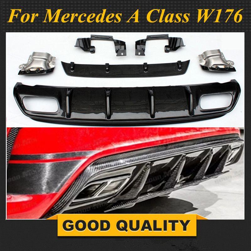 Für Mercedes W176 EINE Klasse AMG Paket 2013-2018 A45 Stil Diffusor & 304 Edelstahl 4-outlet auspuff Tipps