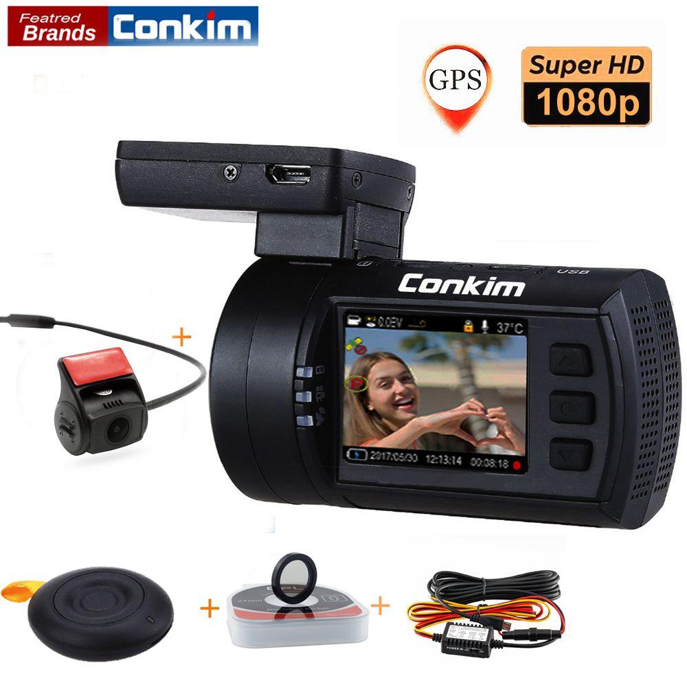 Conkim With 2 Cameras DVR Novatek 96663 Car Video Recorder Front Mini0906 Full HD Rear Dash Cam GPS Parking Dual Lens Registrar