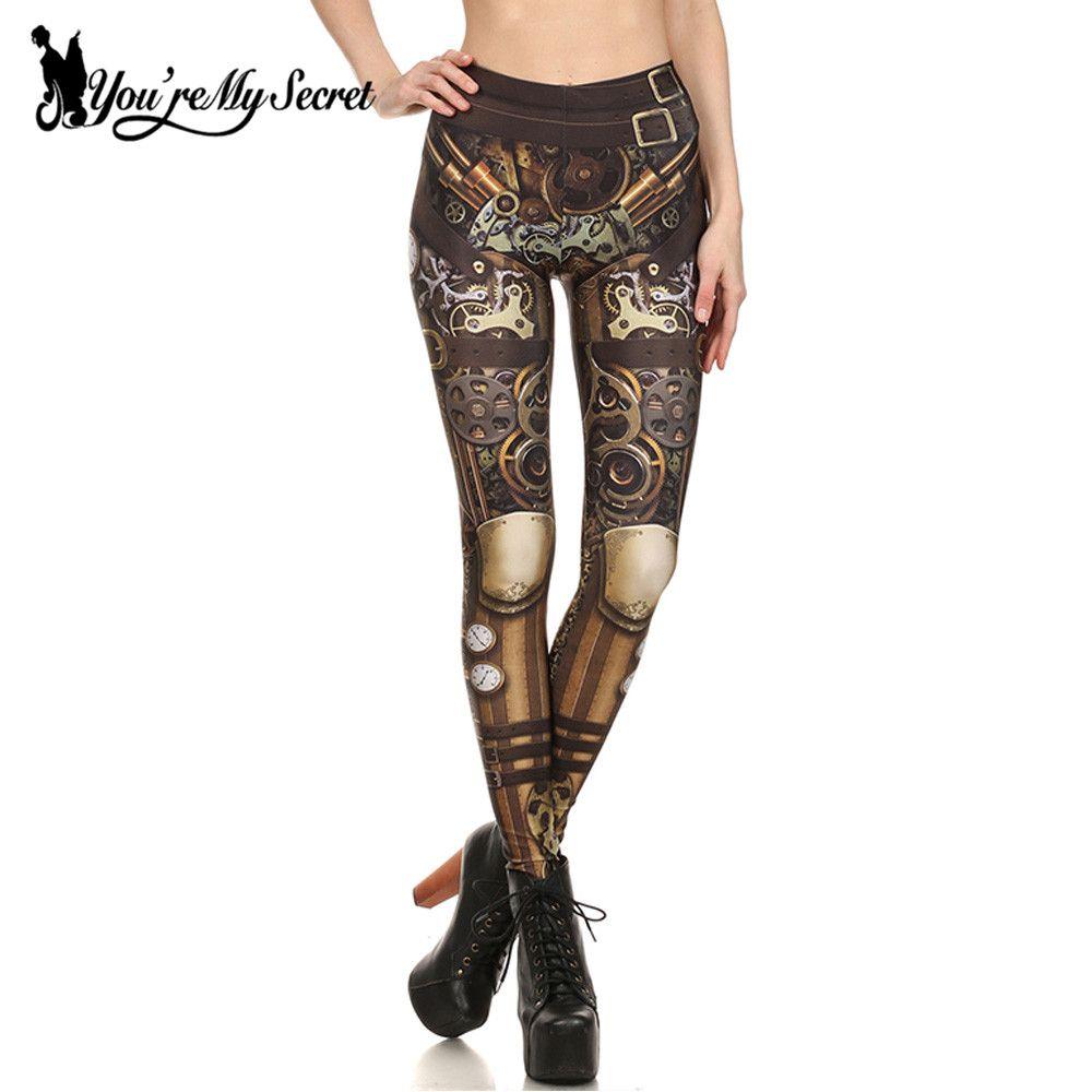 [Vous êtes Mon Secret] Design de mode Steampunk Leggings Femmes Star Wars leggin Femmes Taille Haute Mécanique Vitesse 3d Impression Cosplay