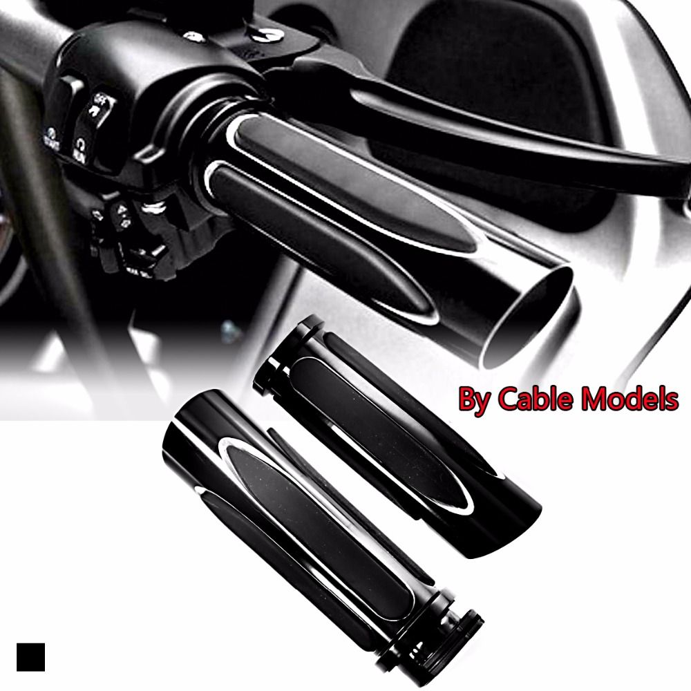 Deep Cut Black Soft Touch Comfort Grips Hand Grip Set For Touring Sportster Dyna 883 1200 Custom Motorcycle