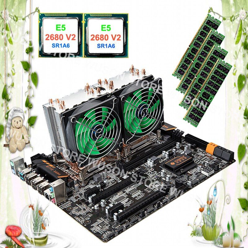 Computer custom made HUANAN ZHI dual CPU X79 motherboard with dual CPU Intel Xeon E5 2680 V2 SR1A6 with coolers RAM 32G REG ECC