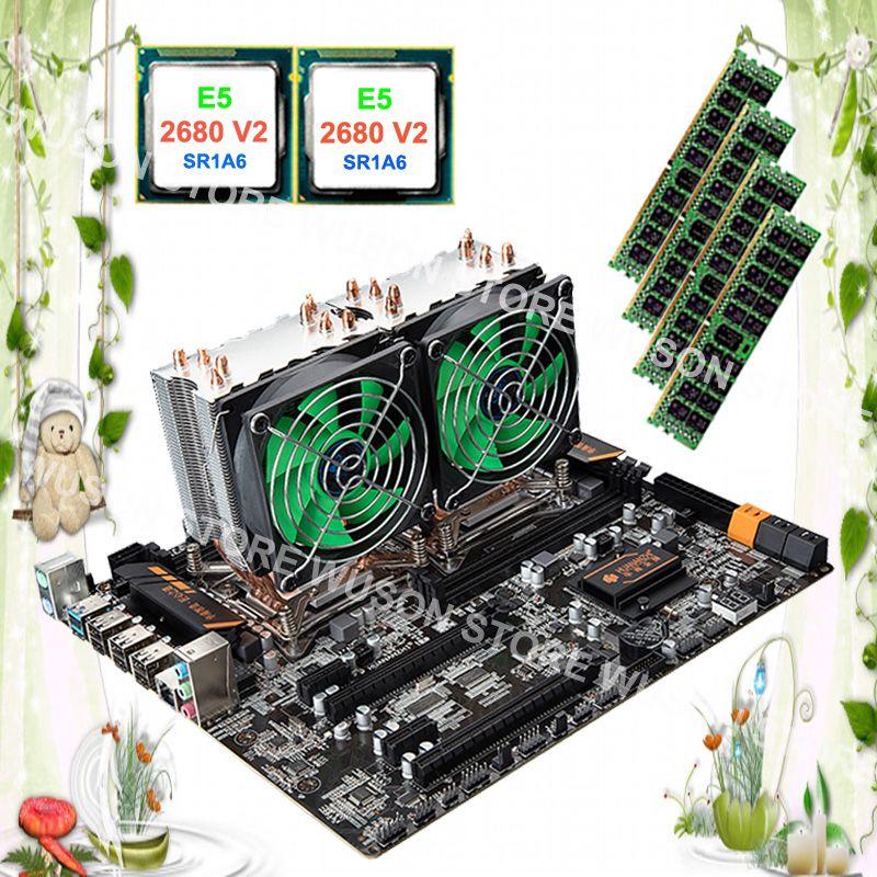 Computer custom made HUANAN ZHI dual CPU X79 motherboard with dual CPU Intel Xeon E5 2680 V2 SR1A6 with coolers RAM 32G REG ECC