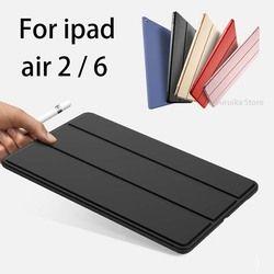 Pour iPad Air 2 Cas, Slim Pu En Cuir + Silicone Souple Retour Smart Cover robuste Stand Veille Automatique pour iPad air2 ipad 6 Coque + Stylus