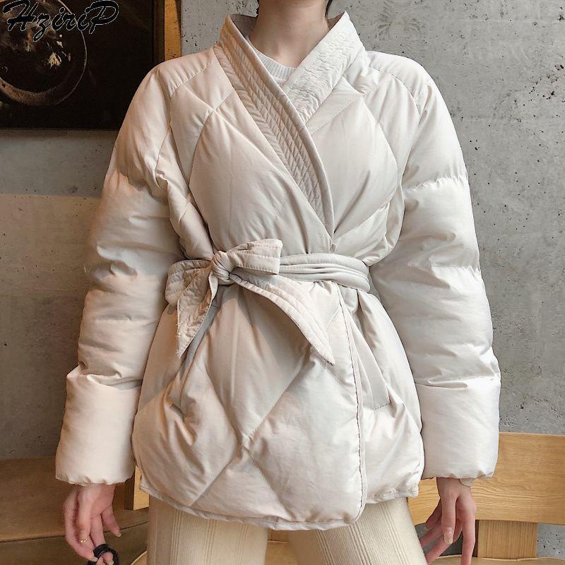 Hzirip 2019 nouveau Design femmes hiver solide ceintures manteau femme épais haute qualité étudiants Outwear doux femmes veste grande taille