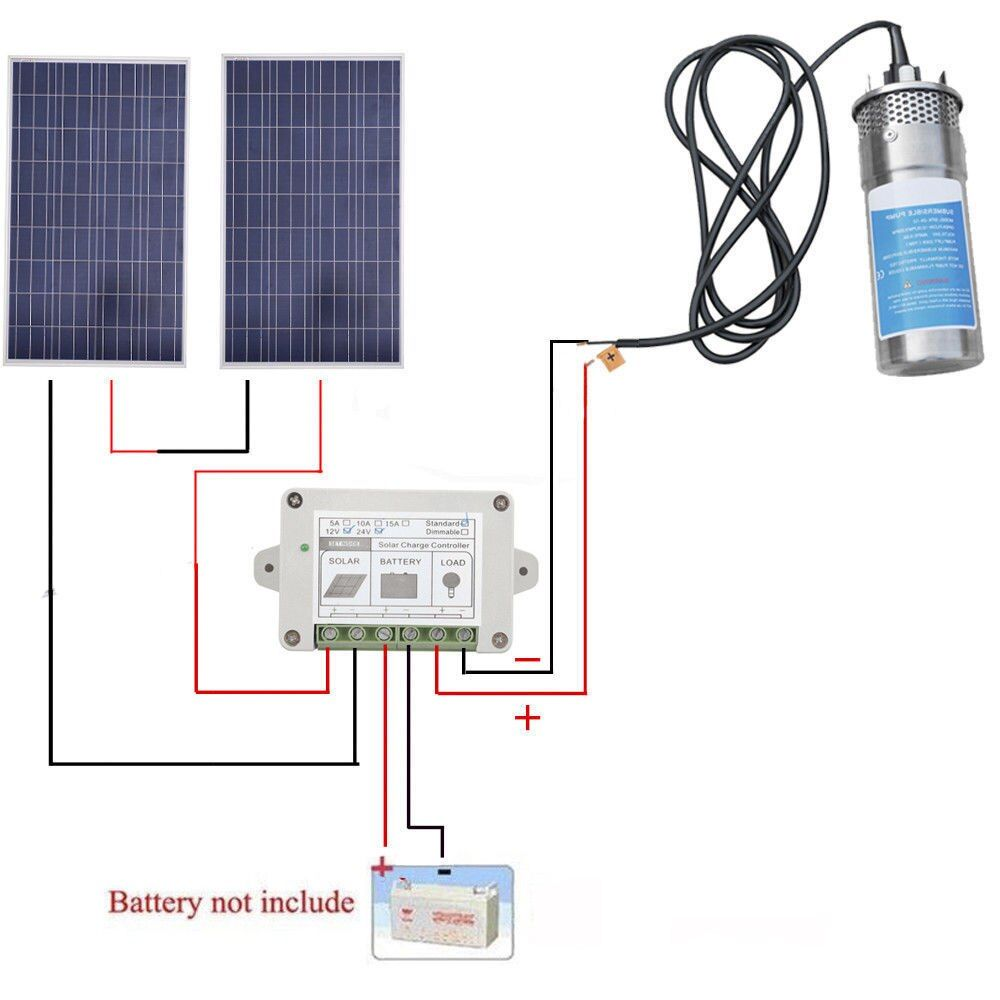 200W Poly Solar Panel+24V Deep Well Steel Submersible Water Pump +Controller