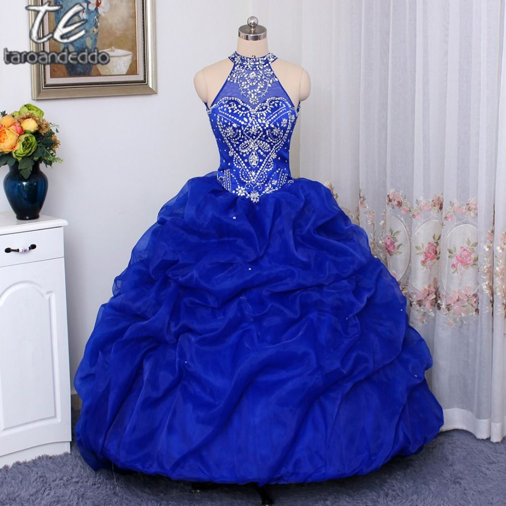 Halter Neckline Hand Beading Pick Up Ball Gowns Quinceanera Dress Royal Blue Open Back Organza Puffy Sexy 16 Dress