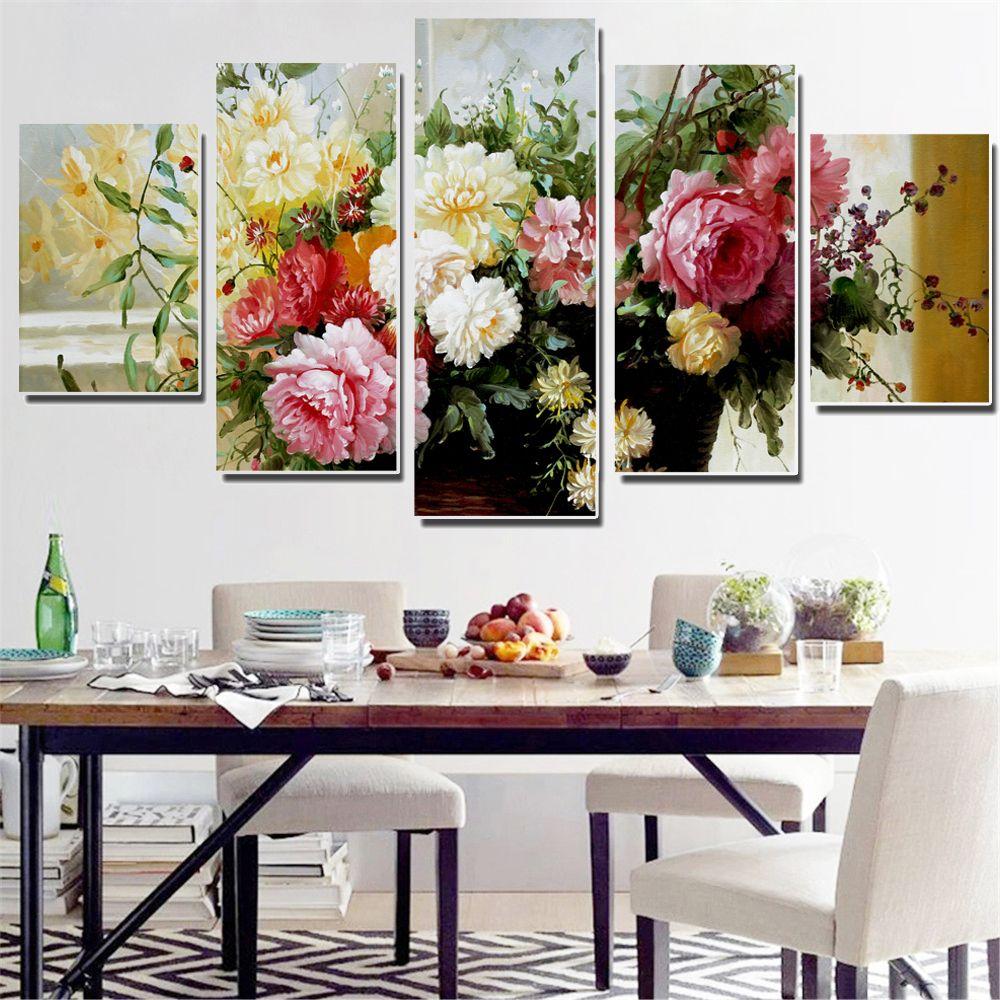 Sans cadre Peinture À L'huile Fleurs Colorées Modulaire Toile Photo Mur Affiche Décoration Impression sur Toile pour le Décor de Mur 5 pcs