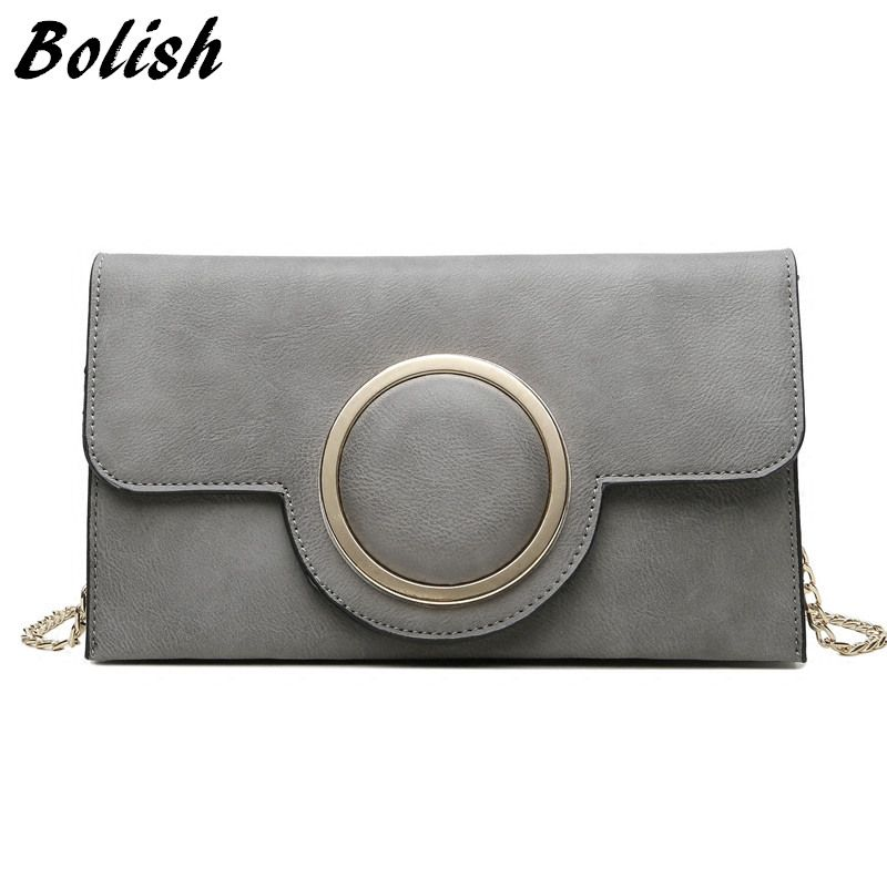 Bolish Nubuck Leather Women  Handbag Fashion Chain Female Shoulder Bag Small Day Clutches