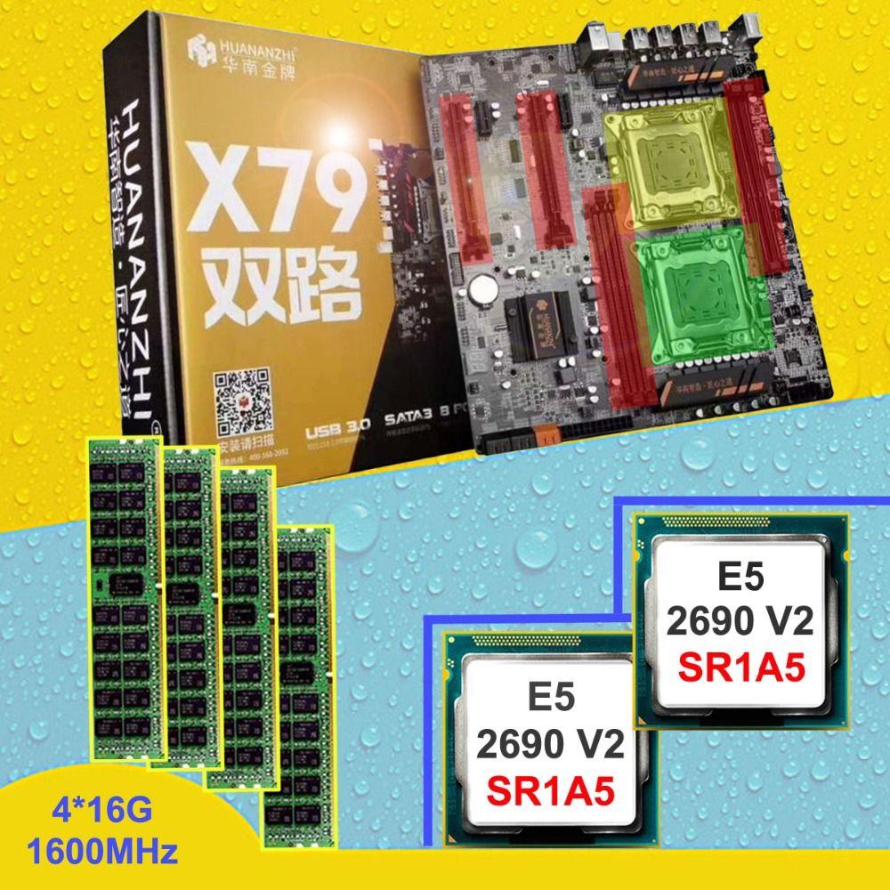 HUANAN ZHI dual CPU X79 motherboard with 6 SATA ports discount motherboard with CPU Intel Xeon E5 2690V2 3.0GHz RAM 64G REG ECC