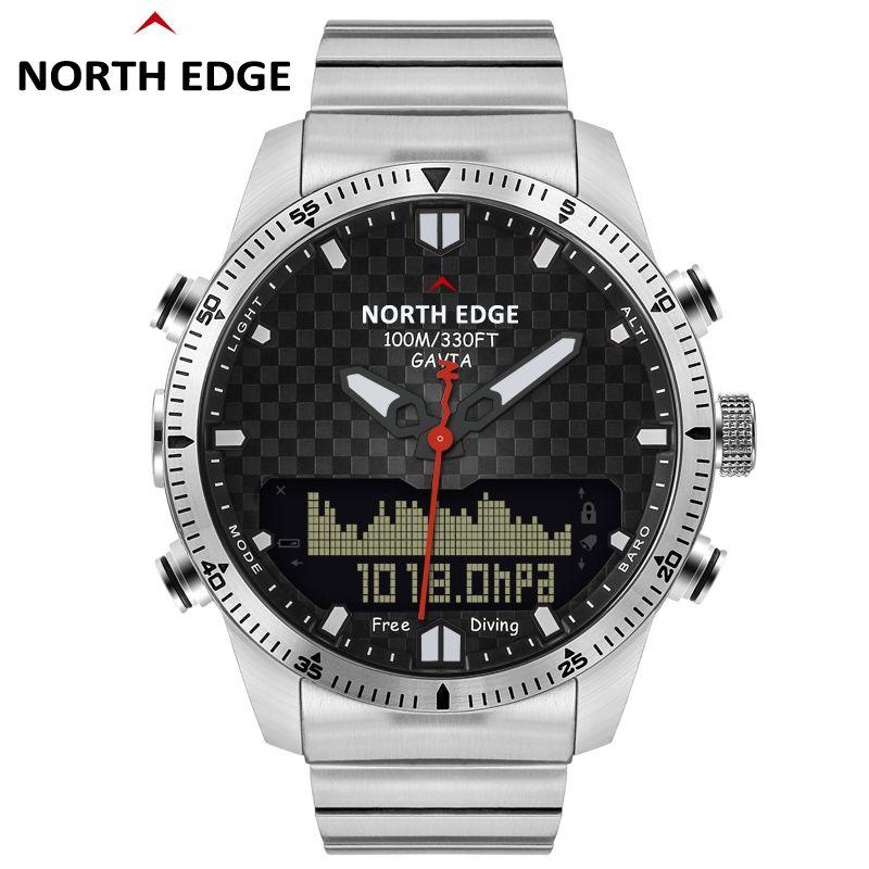 Männer Dive Sport Digital uhr Herren Uhren Militär Armee Luxus Voller Stahl Business Wasserdichte 100 m Höhenmesser Kompass NORDEN RAND