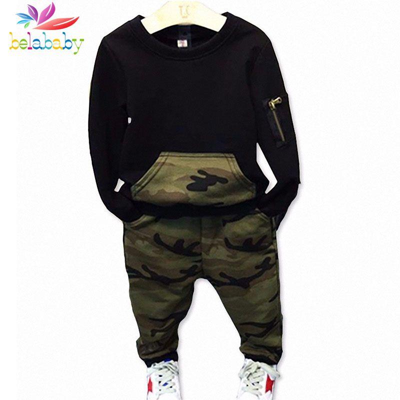 Belababy Casual Enfants Vêtements Ensemble À Manches Longues Bébé Garçon Camouflage Chemise + Pantalon Enfants Tenues 2 pcs Sport Costume Vêtements pour les Garçons
