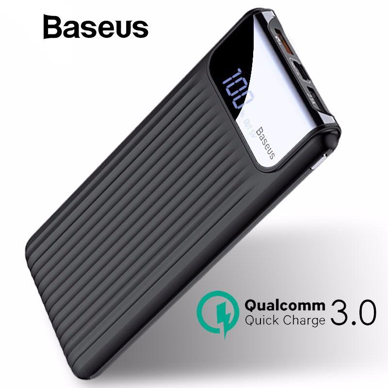 Baseus 10000 mAh LCD charge rapide 3.0 chargeur portatif à deux bornes usb Pour iPhone X 8 7 6 Samsung S9 S8 Xiaomi Powerbank chargeur de batterie QC3.0