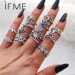 Si ME Bohemia flor anillo fija para las mujeres Vintage Retro Color plata Loto Azul cristal anillos de joyería 2018 nuevo